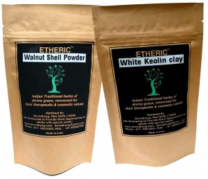 Etheric Walnut Shell Powder and White Keolin Clay Powder Combo(2x100gm)